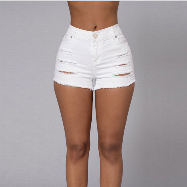 c94e0a87c22d Nice Summer Denim Shorts White Slim Fit Ripped Short Jeans High Waist Sexy  Short Jeans For