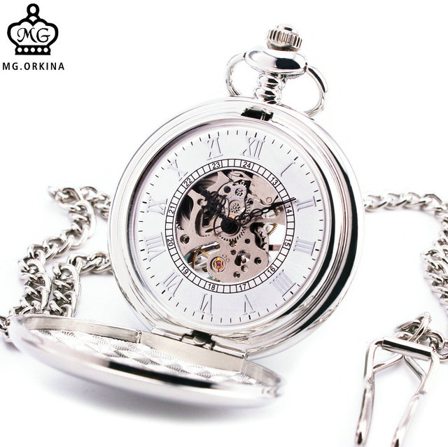 Concise Delicate Men Women Mechanical Pocket Watch Textured Lid Silver Stainless