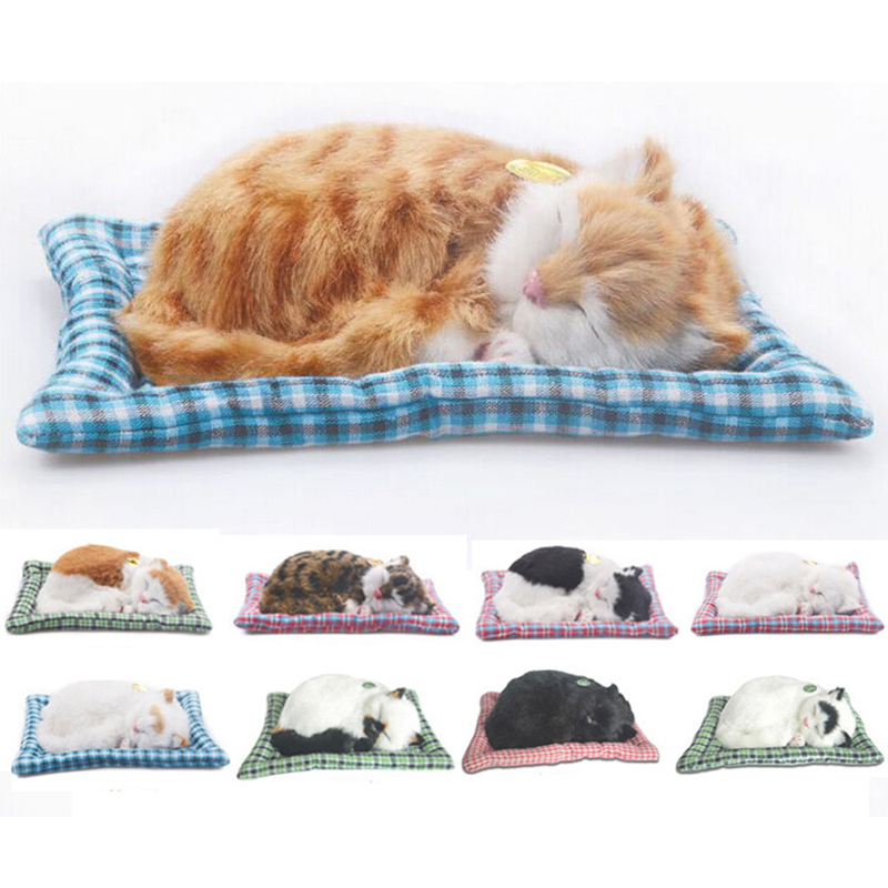 Simulation Animal Cat Bed Dog Pet Birthday Gift Simulation Toys For Children Sleepping Cat Dog Electronic Pet