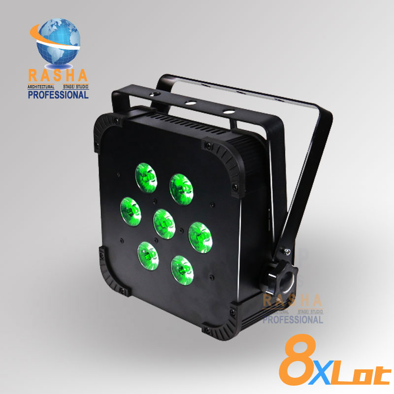 8X Hot Sale Rasha Quad 7*10W RGBA/RGBW 4in1 Wireless LED Flat Par Profile,LED Flat Par Can,Disco DMX512 Stage Light 4x lot hot rasha quad 7 10w rgba rgbw 4in1 dmx512 led flat par light non wireless led par can for stage dj club party