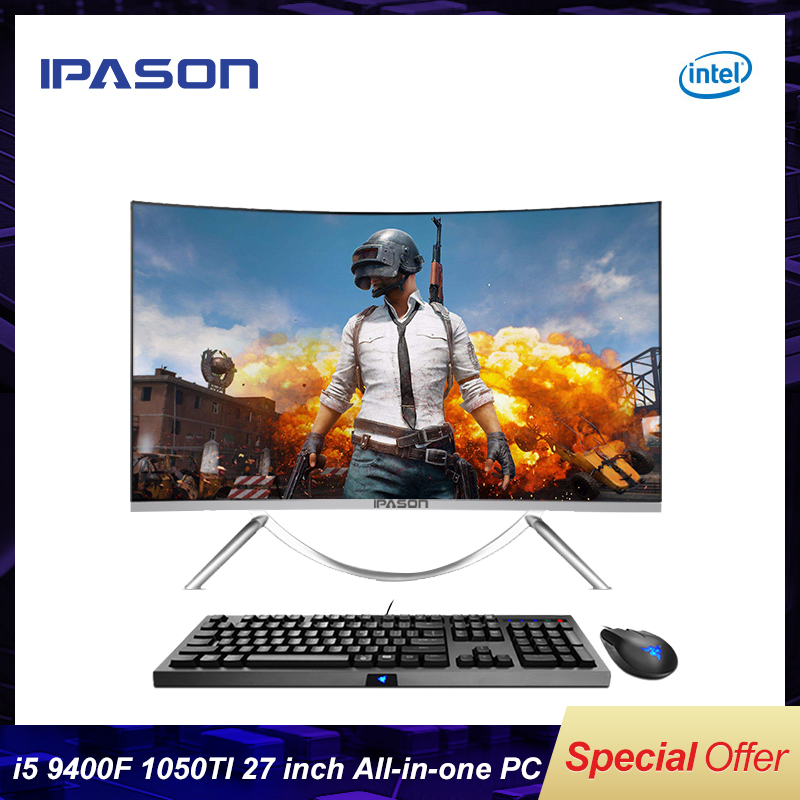 IPASON V10 27 zoll Alle-In-One Gaming PC Intel 6 Core I5 9400F DDR4 8G RAM 480g SSD Nicht-Integrierte 1050ti 4G grafikkarte