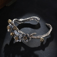 S925 Sterling Silver Bangle for Woman Beautiful Handmade Plum Flower Branch Opening Bracelets Thai Silver Bangles Fine Jewelry цена