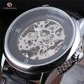 Forsining Série Mãos Brancas Prata Die-Casting Caso Esqueleto Homens Relógio Marca de Topo de Luxo Masculino Relógios Relógio Mecânico Automático