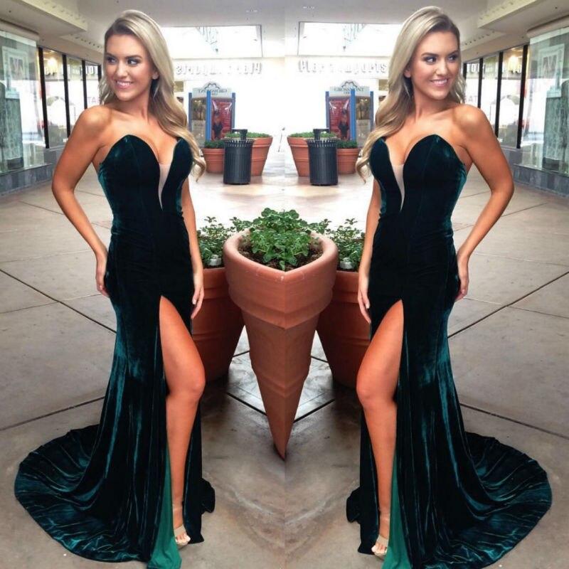 2019 vert sirène velours longues robes de soirée chérie Sexy Split femmes élégantes robes de soirée robe livraison rapide vente