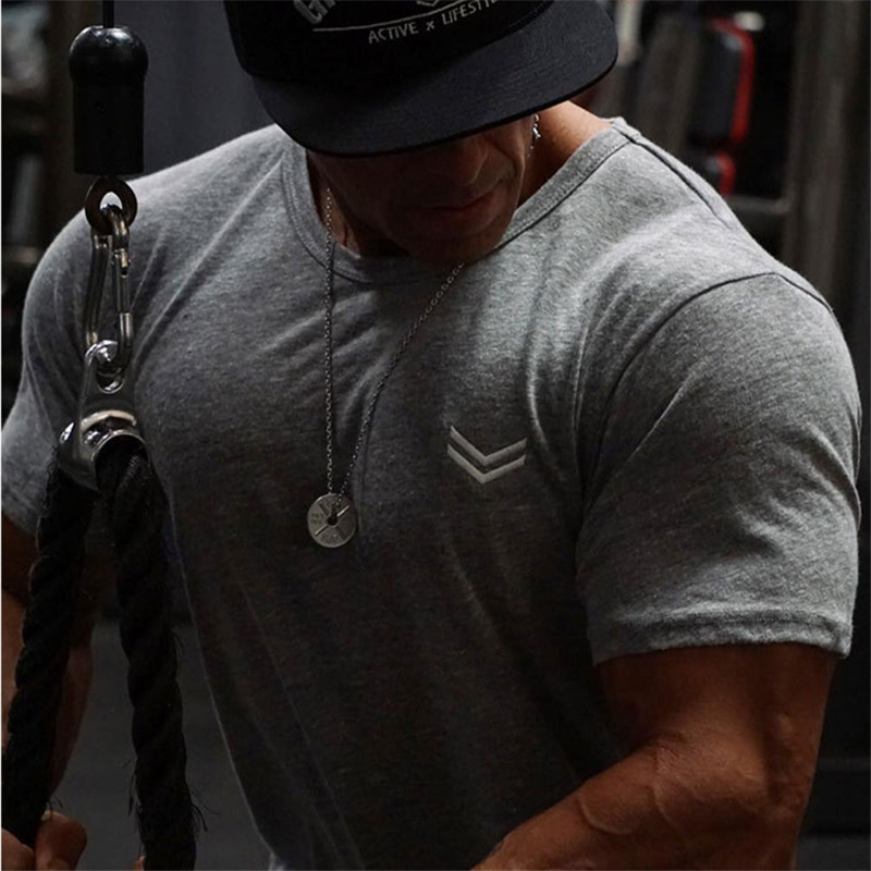 Men gyms Fitness t shirt Bodybuilding Shirts Fashion Casual Male Short sleeve cotton Tees Tops clothing 31