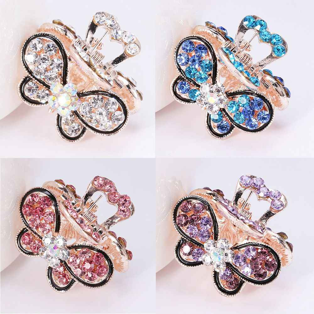 1 Pc  Butterfly Crystal Hair Claws Clips Pins For Women Girls Vintage Headwear Rhinestone Hairpins Barrette Jewelry Accessories