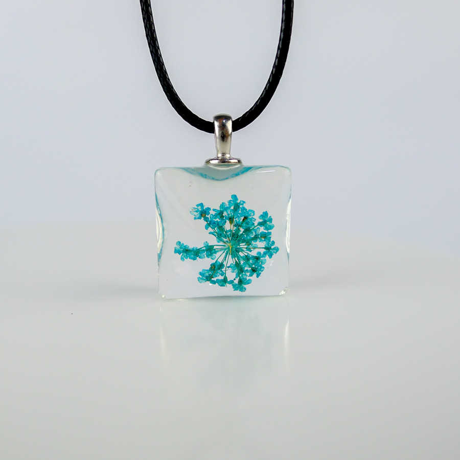 Dried Flower square glass pendants Hand Made Long necklace for women lovers #FY324