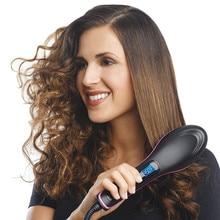 Simply Straight Ceramic Hair Straightener Brush Comb Detangling Digital Electric Straightening Irons Hair Brush With LCD Display
