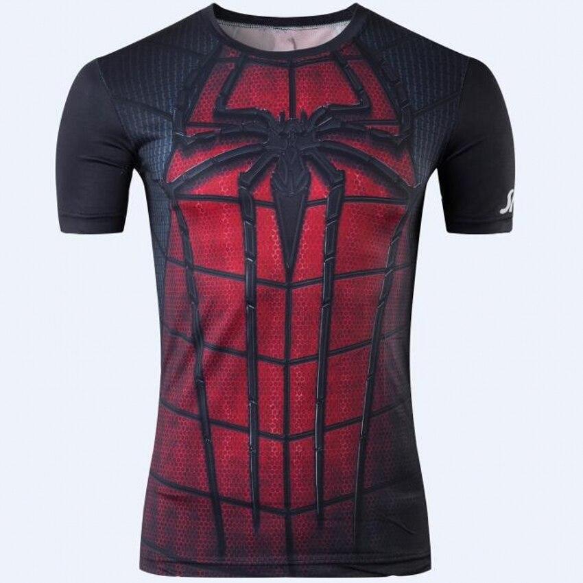 2016 Avengers Super Heroes T Shirt Iron Man Spiderman Captain America Short Sleeves Compression Fitness Shirt 3d t shirt