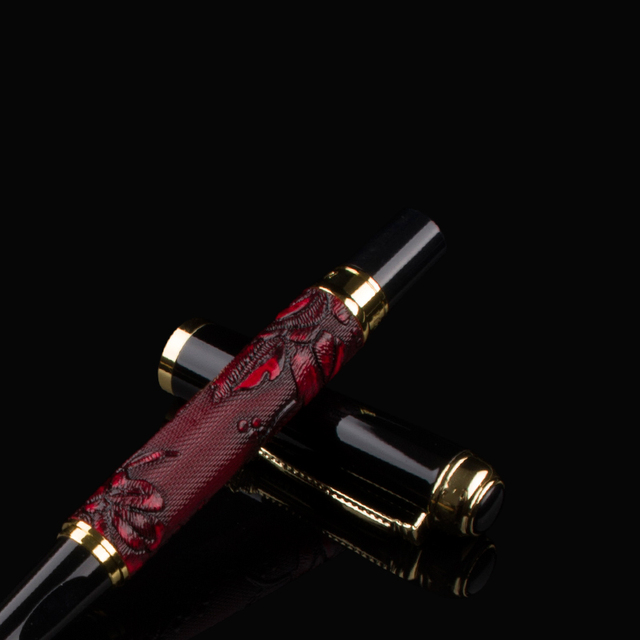 Luxury New brand classic red Leather grape pattern roller ball pen classic pen stationery Hot sell 3