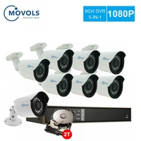 MOVOLS CCTV 1080P 8pcs Camera Video Surveillance system 8CH 2000TVL Outdoor Security Camera set Night vision 8CH 2MP DVR Kit