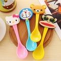 2016 de dibujos animados lindo bebé cuchara vajilla infantil bebé aprender a alimentarse de herramientas helado/café cuchara multicolor 1 caliente