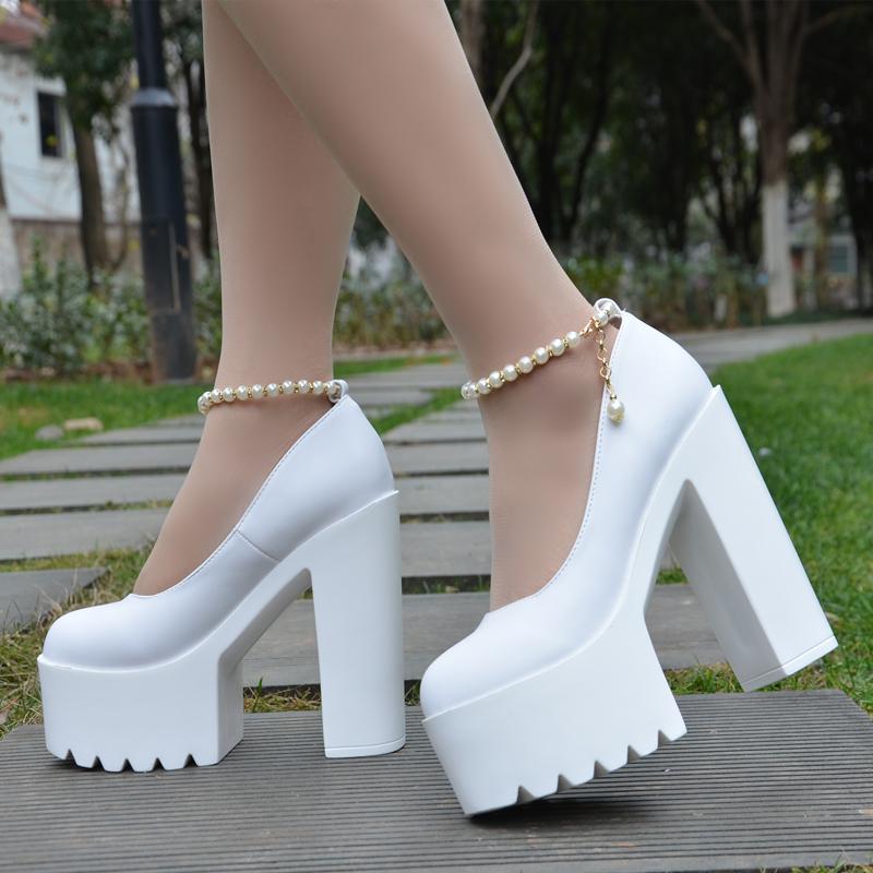 14 cm high heels fashion sexy waterproof platform shoes white wedding high heeled catwalk model women