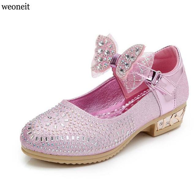 Weoneit 2019 Children Princess Glitter Sandals Kids Girls Shoes Square  Heels Dress Shoes Party Shoes Pink Silver Gold Size 26~36 32ce484cbcd6