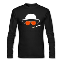 Long Sleeve Clever Hat And Glasses T Shirt Men Gray Costumes Customized Fear And Loathing In