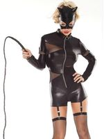Hot Sale Mesh Zipper Leather Jumpsuit Fashion Long Sleeve Sexy Woman Leather Lingerie