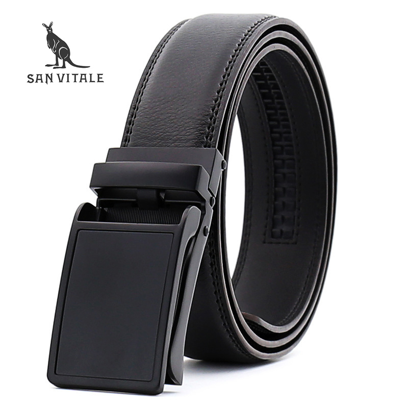 <font><b>SAN</b></font> <font><b>VITALE</b></font> <font><b>Belts</b></font> Men Luxury Famous Brand Designer High Quality Genuine Leather Straps Car Automatic Buckle <font><b>Belt</b></font> Ceinture Homme image