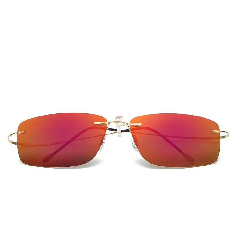 Men Rimless Sunglasses Titanium Women Brand Designer Sun Glasses Rectangle Ultralight Polarized Sunglass With Box  LXL