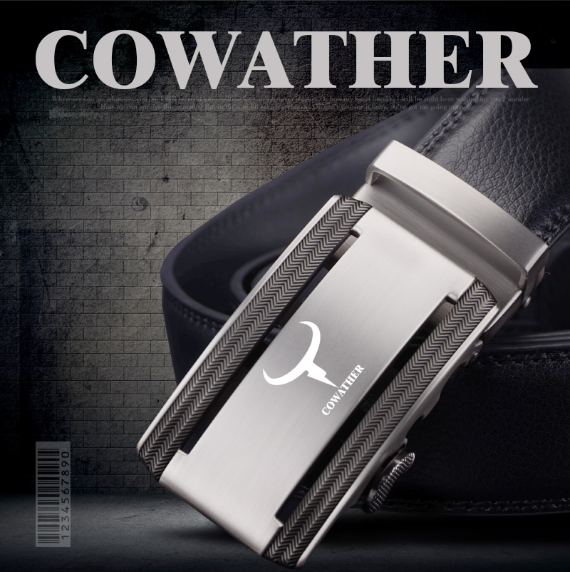 COWATHER 2017 new 100% cow genuine leather belts for men high quality alloy automatic buckle belt cinto masculino original 1