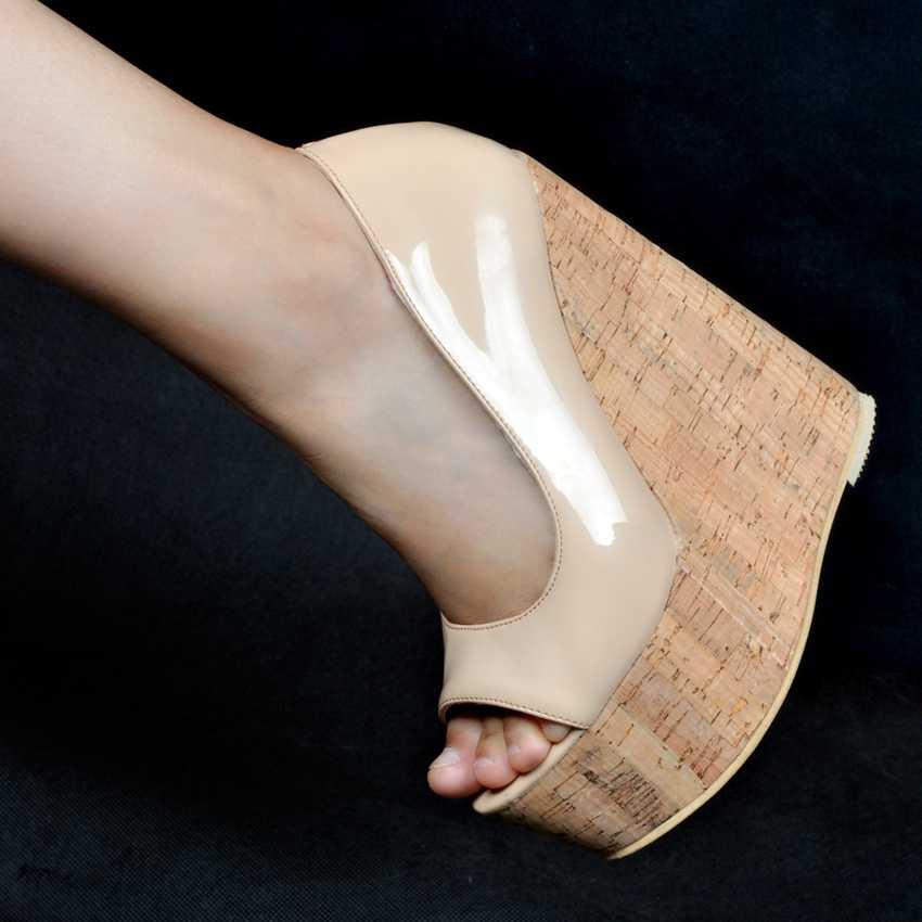 Plus duży rozmiar 34-48 Nude moda 15CM szpilki platformy dziewczyny kobiety Lady buty na koturnie kobiety pompy D1173