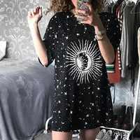 Harajuku lâche long femme t-shirt lune étoile imprimé décontracté 2019 été t-shirt haut pour femme esthétique t-shirt femme Streetwear