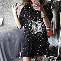 Harajuku loose long female t-shirt Moon Star printed casual 2019 summer t shirt women tops aesthetic tee shirt femme Streetwear