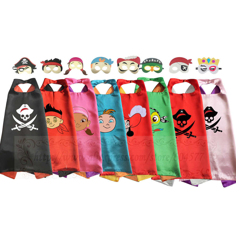 Pirate Costume Capes With Masks For Kids Dress-up Halloween Birthday Party Captain Jack Boy Cosplay