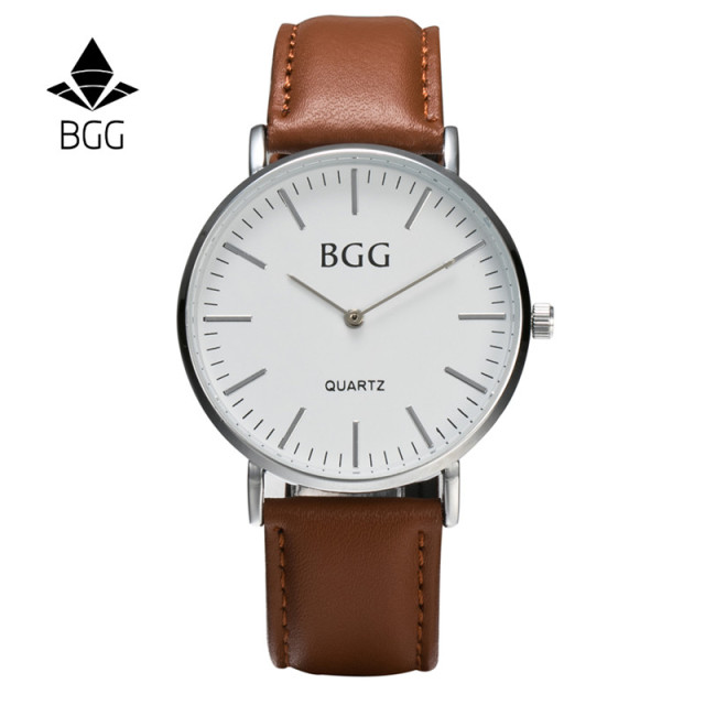 New Brand BGG Luxury Men Watch Business Casual Leather Strap Thin Simple Dial Ma