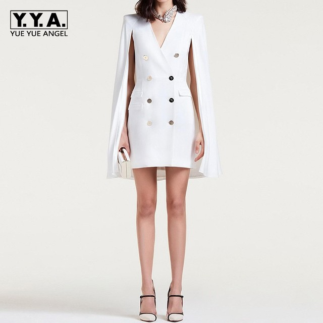 373308391b644 2019 New Fashion Office Ladies White Double Breasted Blazer Dress Women  Formal Party Cape Slim Fit Dress Suit Sexy V Neck Blazer