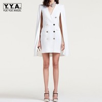 2019 New Fashion Office Ladies White Double Breasted Blazer Dress Women Formal Party Cape Slim Fit Dress Suit Sexy V Neck Blazer