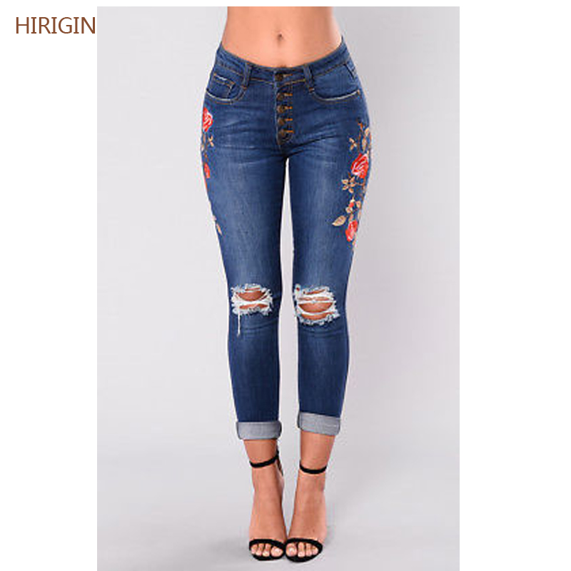 2017 Womens Dark Blue Vintage Embroider Flowers jeans Sexy Ripped Pencil Stretch Denim Pants Female Slim Skinny Trousers Jeans jeans womens 2017 spring korean fashion vintage badge ripped blue denim pants trousers long pencil pants jeans femme b67