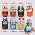 Venda quente Famosa marca bandana babadores bonito dos desenhos animados com tampa de alta qualidade engraçado Tridimensional vestido ocasional do bebê avental