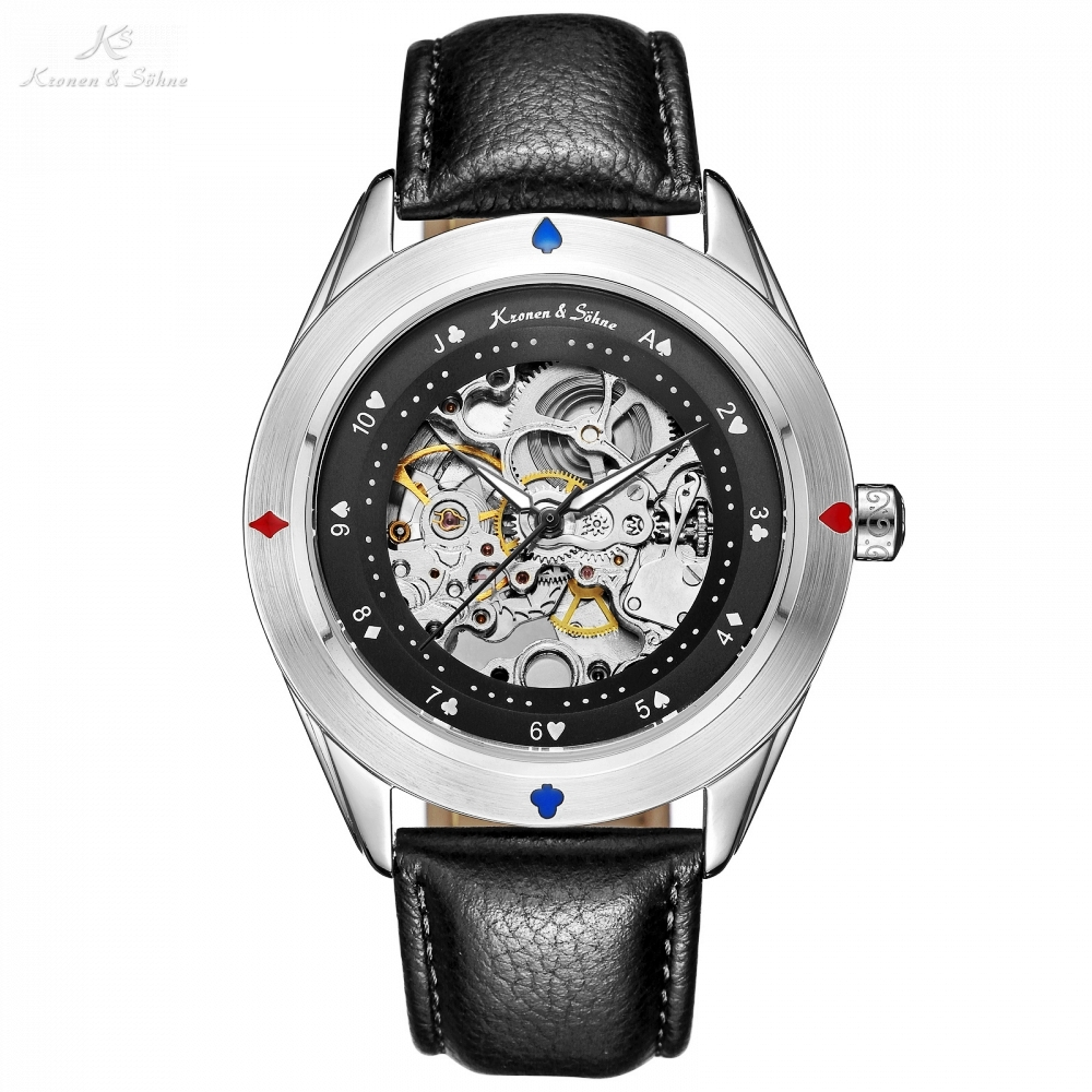 KS Automatic Self Wind Poker Card Bezel Skeleton Movement Silver Case Male Clock Men Black Leather Strap Mechanical Watch /KS382 ks black skeleton gun tone roman hollow mechanical pocket watch men vintage hand wind clock fobs watches long chain gift ksp069