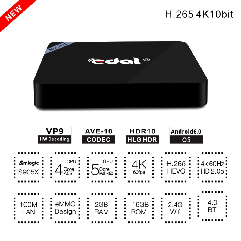 Universal Mini M8S II Smart Android 6.0 Amlogic S905X Quad Core VP9 UHD 4K 2G / 16G TV BOX Support Bluetooth Smart Set Top Box 10pcs lot sen013dg original