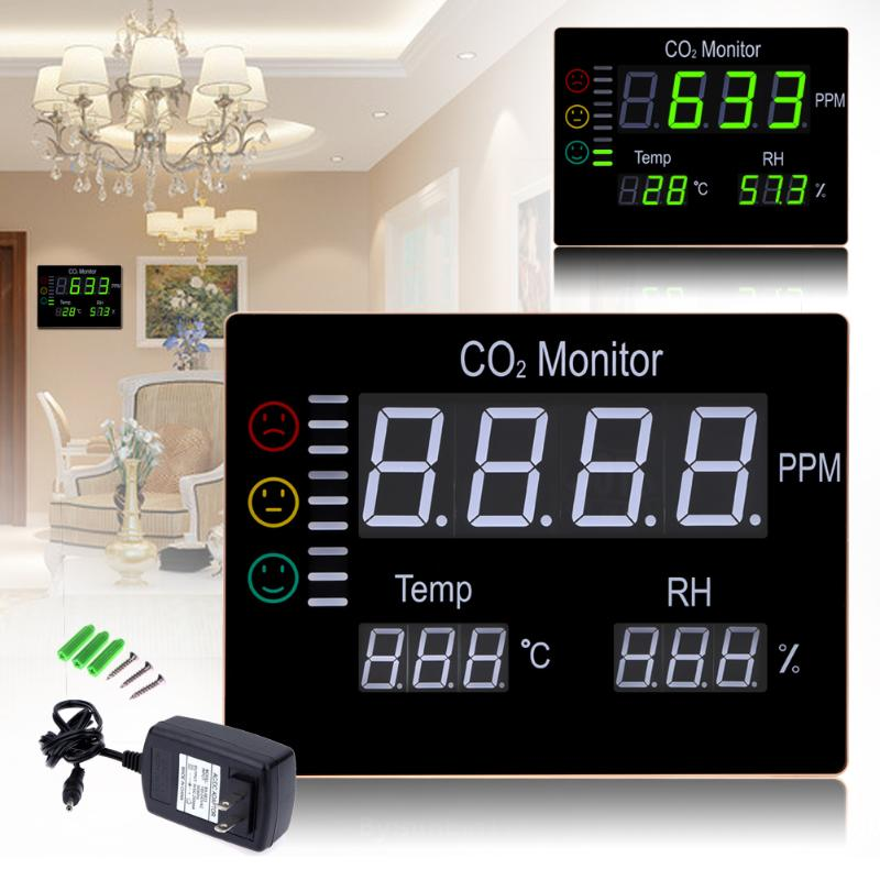 LCD Digital Wall Mount Air Temperature RH 9999PPM Carbon Dioxide CO2 Monitor Gas Analyzers Temperature Humidity Tester 3 in 1 indoor air quality monitor carbon dioxide co2 meter 9999ppm temperature humidity rh dp wbt digital iaq tester