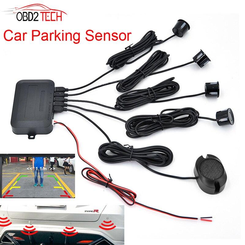 10pcs A Lot 4 Sensors Buzzer 22mm Car Parking Sensor Kit Reverse Backup Radar Sound Alert Indicator Probe System High Standard In Quality And Hygiene