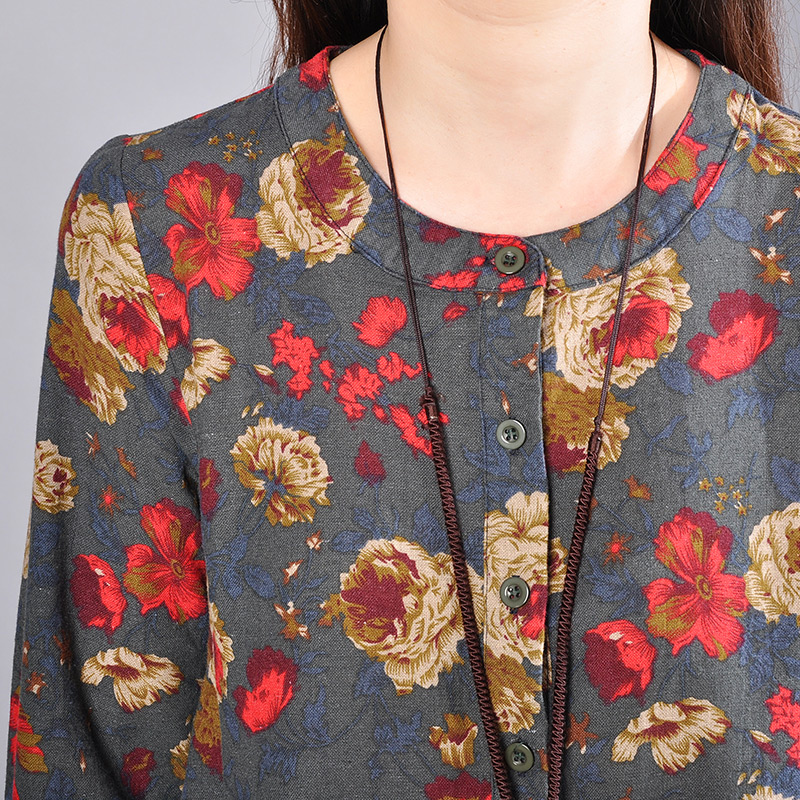 P Ammy Cotton   Linen Plus Size Retro Floral Print Mid Long Dress lagenlook  voguees Trend long shirts linen tunics-in Dresses from Women s Clothing on  ... 60e3ed344ae6