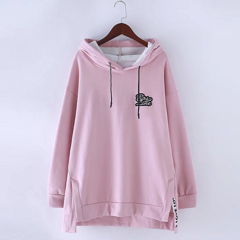 2017 Female Autumn Plus size 6XL Long Sleeve Hoodies Women Fashion Hem Hooded Pullovers Ladies Side Slit Hot Sale Oversize Tops