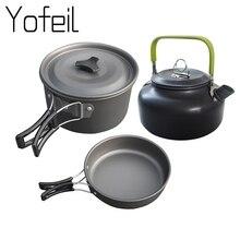Ultralight Camping Pot Frypan Kettle Cookware Utensils Outdoor Tableware Set Hiking Picnic Tableware Pot Pan 2-3Persons