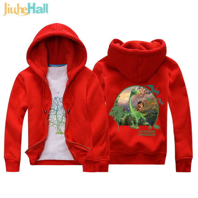 Jiuhehall 3-7 yrs Children Jackets 2017 New Winter Dinosaur Berber Fleece Coats Kids Thicken Warm Hooded Zipper Outwear JCM017