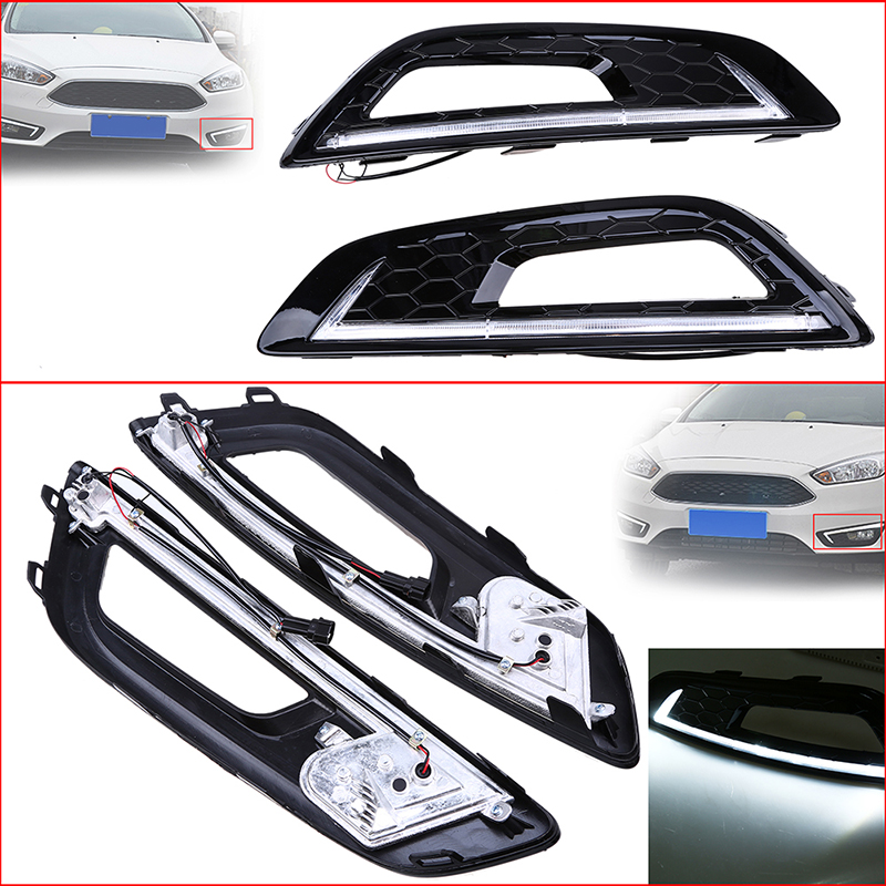 POSSBAY For Ford Focus 2015-2016 12V LED Car DRL Daytime Running Lights Bumper Front Fog Lamp With Hole Driving Lights for opel astra h gtc 2005 15 h11 wiring harness sockets wire connector switch 2 fog lights drl front bumper 5d lens led lamp
