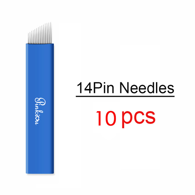 Disposable Microblading Needles Permanent Makeup Blade Hair Stroked Eyebrow Tattoo Blade Stainless Steel 14 Pin 20pcs/lot 3