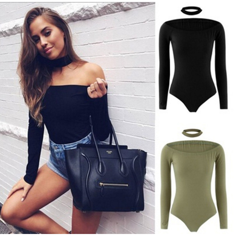 Fashion Sexy Solid Bodysuits Women Bodycon   Jumpsuit   Slash Neck Off Shoulder Long Sleeve Body Suits Bodysuits Skinny   Jumpsuit