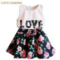 Girls Clothing Sets 2017 New Summer Girls Clothes Letter Love Flower Vest Short Skirt Kids Clothes Suits Children Clothing