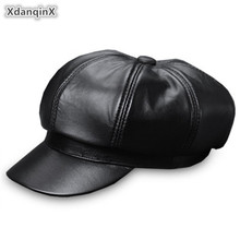 XdanqinX Autumn Genuine Leather Hat Womans Sheepskin Newsboy Cap Elegant Lady Visor Trend Tongue Caps For Women