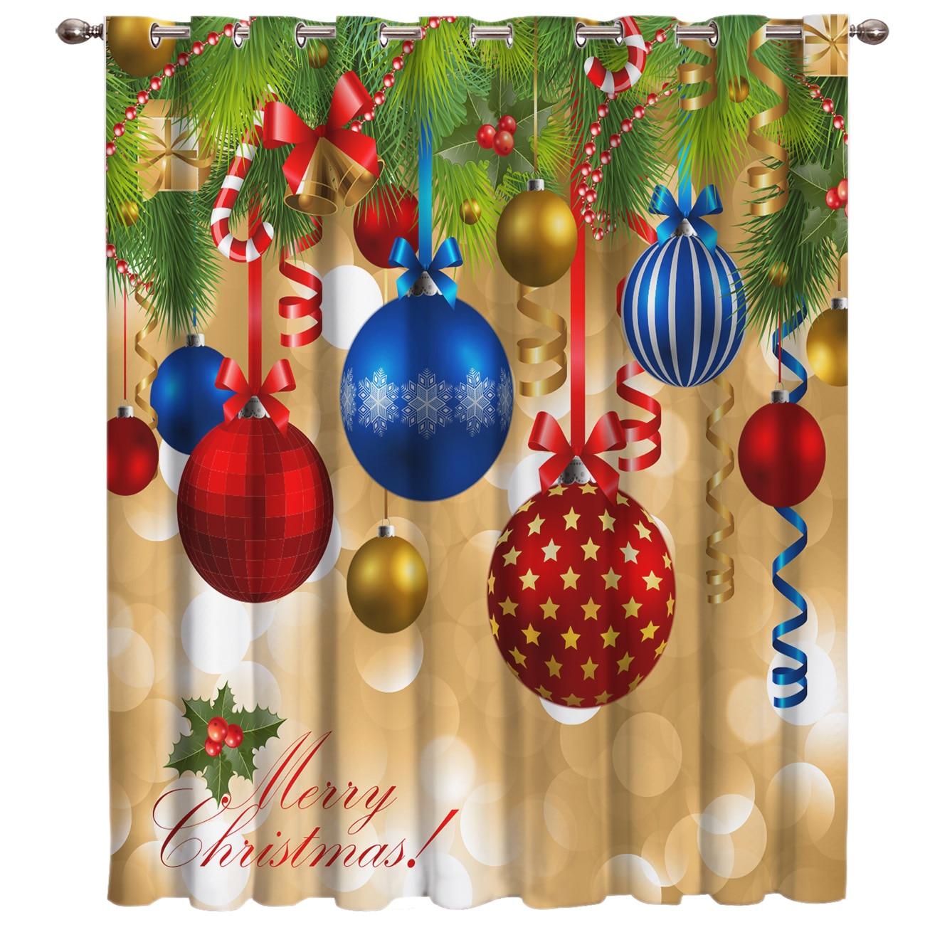 Merry Christmas Tree Decor Window Curtains Dark Living Room Blackout Kitchen Drapes Print Window Treatment Hardware Sets Window