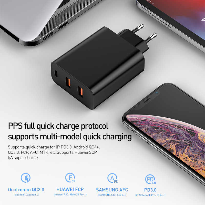 BASEUS 3 พอร์ต USB Charger กับ PD3.0 Fast Charger สำหรับ iPhone 11 PRO MAX XR 60W Quick Charge 4.0 FCP SCP สำหรับ Redmi หมายเหตุ 7 Huawei