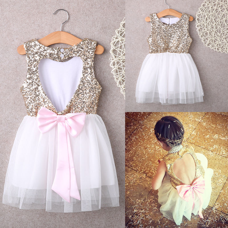 Hot Sequins Baby Girl Sunmmer Dress Party Gown Bridesmaid Tulle Tutu Bow Backless Dresses 3-9y  new hot sequins baby girls dress party gown tulle tutu bow heart shape dresses bridesmaid evening cute children dress