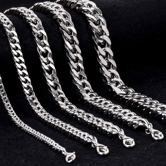 1 PC Hot Alloy Jewelry Curb Link Chain Silver Bracelet & Bangle For Men Charm Bracelets Accessory Fashion Jewelry