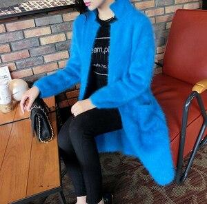Image 4 - 2020 100% Pure Mink Cashmere Long Coat Lady Fashion Real Mink Cashmere Nature Fur Jacket Wholesale OEM Sweater DFP941